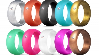 colorful Womens silicone wedding band